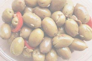 Green olives vegetables, soft faded