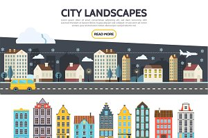 Flat city landscape template