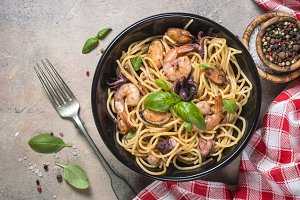 Pasta spaghetti with seafood and