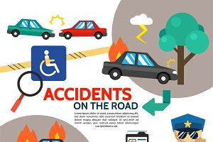 Flat road accident poster