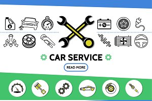 Car service line icons set