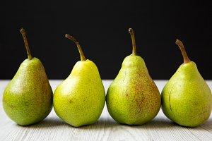 Fresh tasty pears, side view.