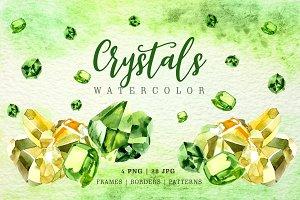 Aquarelle yellow and green crystals