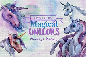 Magical purple unicorn PNG set