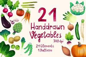 21 Handdrawn Vegetables
