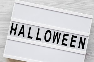 'Halloween' word on lightbox