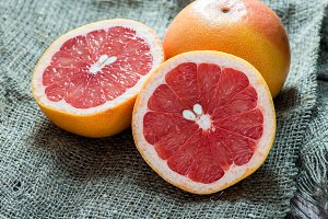 Grapefruit over rustic background