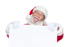 Christmas. Kind Santa Claus in white