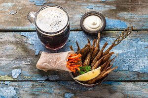 Deep fried fishes with carrots