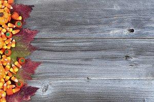 Halloween Decor on Rustic Wood