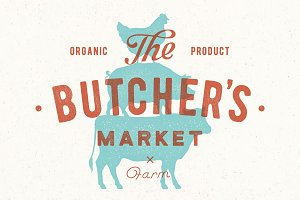 Poster for butcher market. Cow, pig