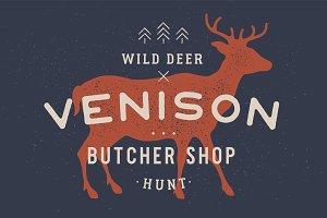 Venison, deer. Vintage logo, retro