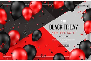 Black Friday Sale with Balloons