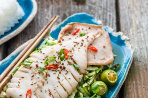 Squid served on asian salad of fresh