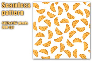 Croissant seamless pattern