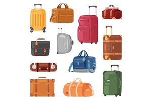 Travel bag vector luggage suitcase
