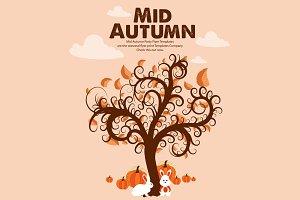 Mid Autumn Tree Illustration