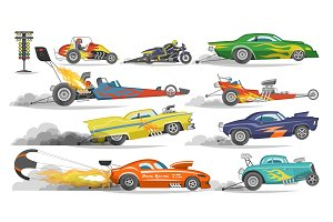 Race car vector drag racing on