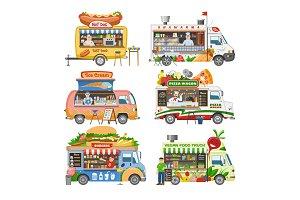 Food truck vector street food-truck