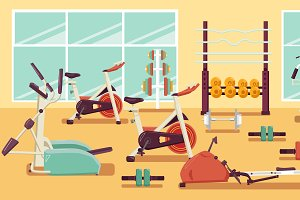Gym Colorful Flat Illustration