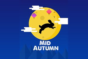 Editable Mid Autumn illustration