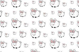 Seamless Rabbit Pattern Illustration