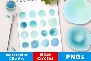 Watercolor Circle Clipart Small Blue