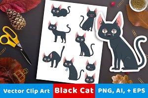Black Cat Clipart- Halloween Clipart