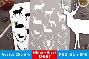 Deer Silhouette Clipart White, Black