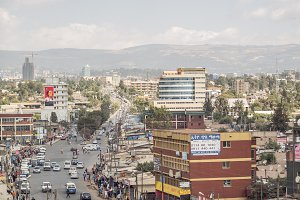 Busy city street in Ethiopia