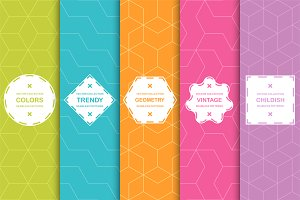 Vibrant seamless geometric patterns