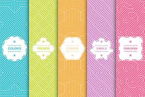 Colorful seamless striped patterns