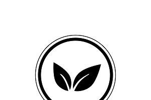 Black vegan logo vector in a circle