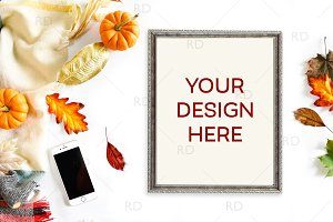 Fall Autumn Themed Frame Mockup