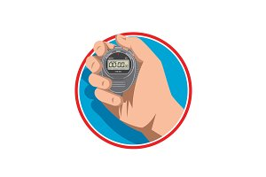 Hand Holding Digital Stopwatch Retro