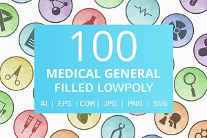 100 Medical General Low Poly Icons