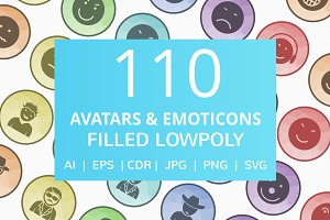 110 Avatar & Emoticons LowPoly Icons