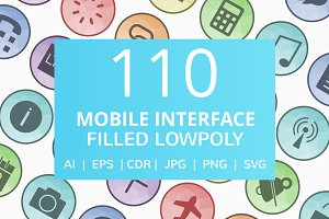 110 Mobile Interface Low Poly Icons
