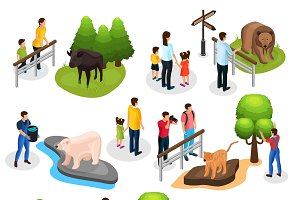 Isometric Zoo Elements Collection