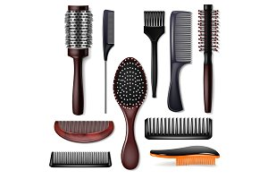 Hair brush vector hairstyling comb