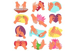 Manicure vector manicured hands and