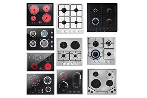 Stove vector cooking gas hob and