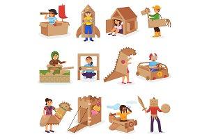 Kids in box vector creative children