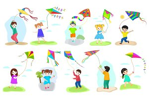 Kids kite vector child character boy