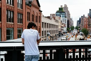 Young man looking at New York