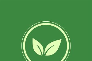 Green vegan logo vector in a circle
