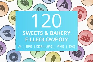 120 Sweets & Bakery Low Poly Icons