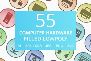 55 Computer & Hardware LowPoly Icons