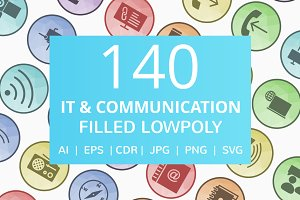 140 IT & Communication LowPoly Icons