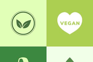 Collection of vegan icon vectors
